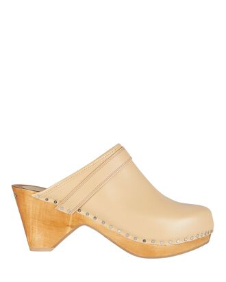 Tholas Studded Leather Clogs, BROWN, hi-res