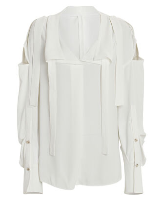 Reversible Tie Neck Crepe Blouse, , hi-res