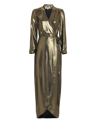 Reliah Gold Lamé Wrap Dress, GOLD, hi-res