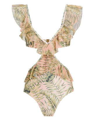 Palma Ruffle Cutout One Piece Swimsuit, PALE PINK/GREEN, hi-res
