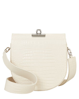 Demilune Croc-Embossed Shoulder Bag, IVORY, hi-res