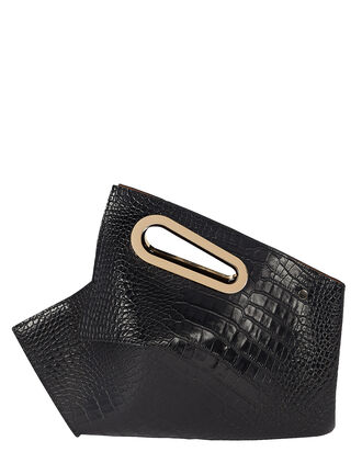 Athaarah Croc-Embossed Leather Clutch, BLACK, hi-res