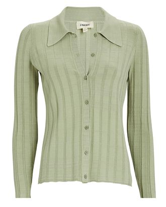 Naya Rib Knit Polo Cardigan, GREEN, hi-res