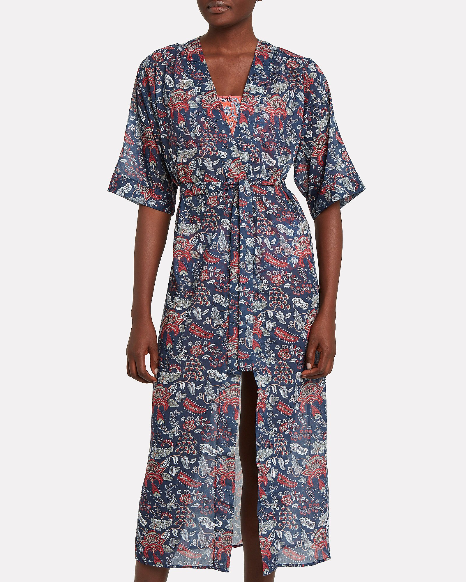 Floral Print Cotton Cover-Up, NAVY/RED FLORAL, hi-res
