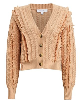 Rowen Fringed Cotton-Blend Cardigan, BEIGE, hi-res