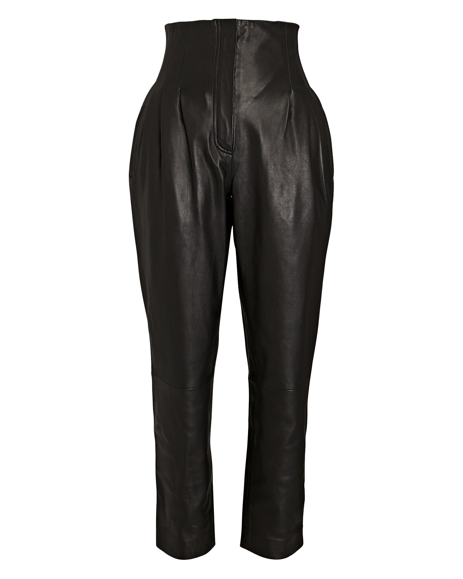 Tapered High-Waist Leather Pants, BLACK, hi-res
