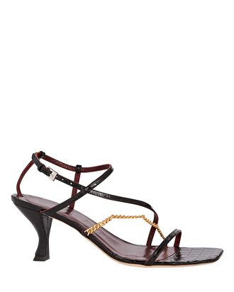 Gita Chain Strappy Leather Sandals, BLACK, hi-res