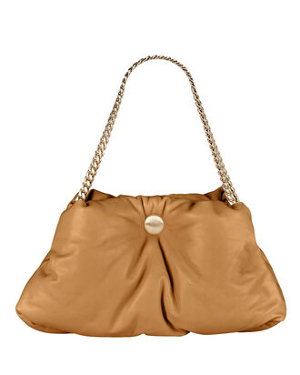 Tobo Leather Puffy Chain Bag, BROWN, hi-res