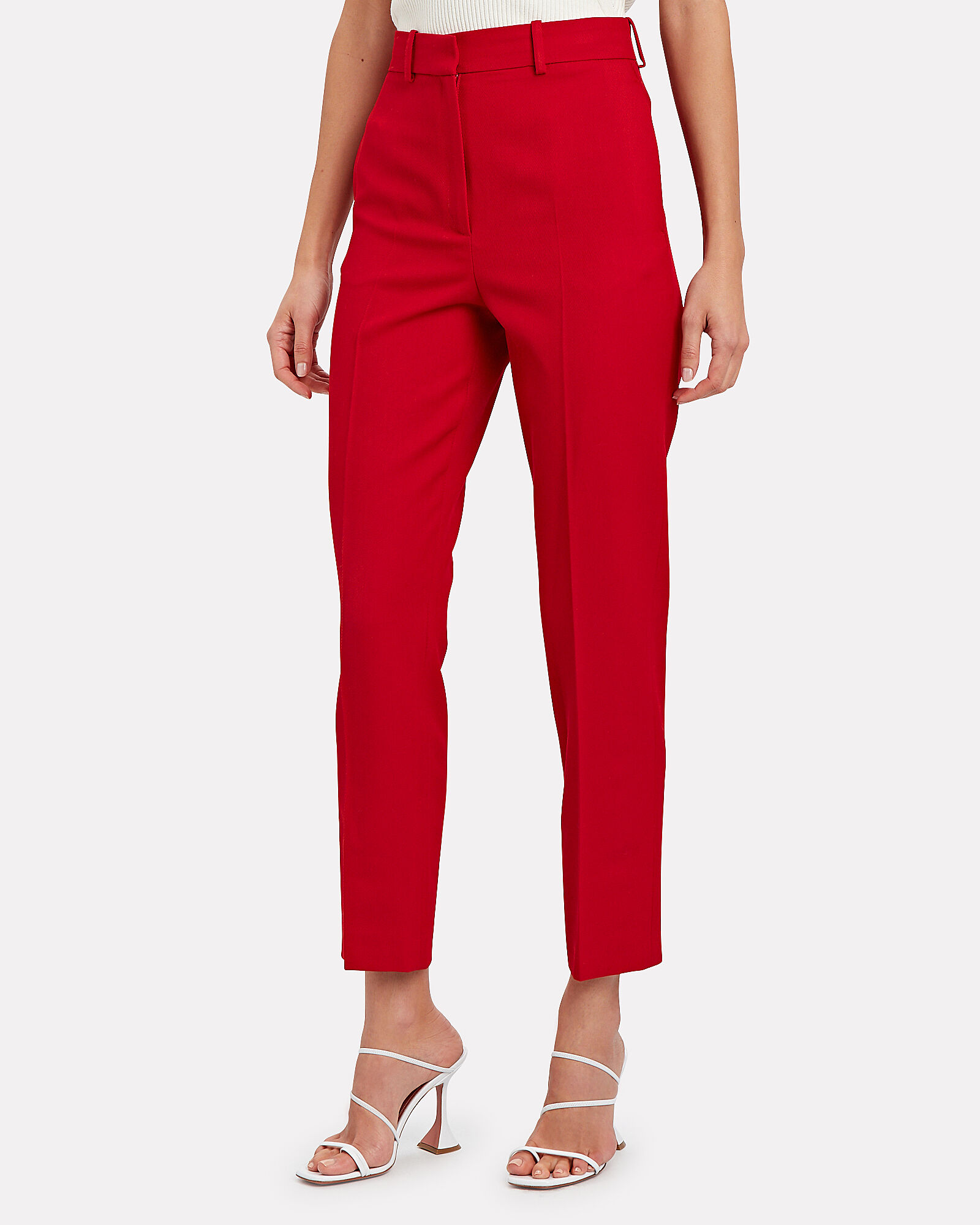 Michael Drill Cigarette Trousers, RED, hi-res