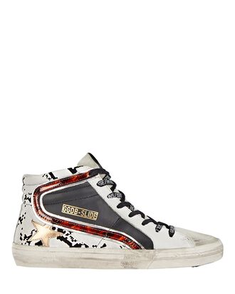 Slide Embossed High-Top Sneakers, WHITE/BLACK, hi-res