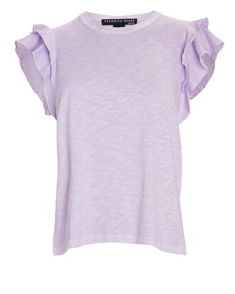 Akeela Ruffled Cotton T-Shirt, LIGHT PURPLE, hi-res
