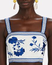 Olva Embroidered Linen Crop Top, WHITE, hi-res