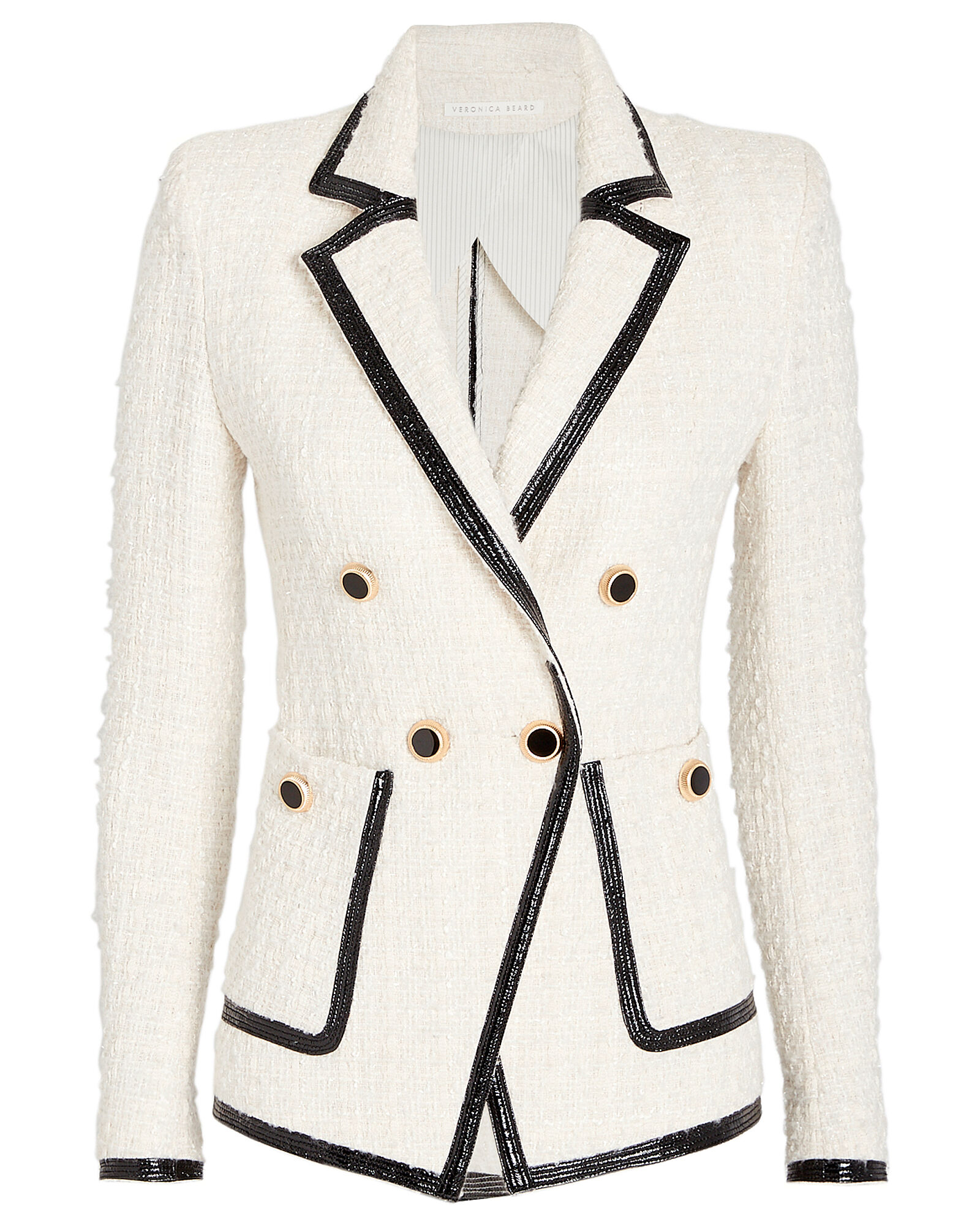 Cato Double Breasted Tweed Blazer, IVORY, hi-res