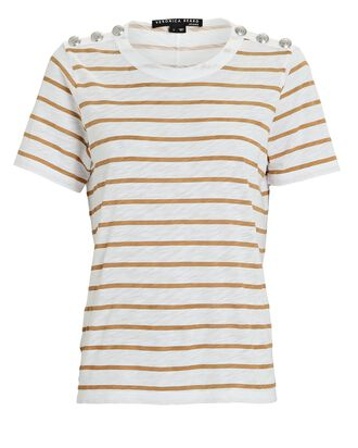 Carla Button-Embellished T-Shirt, WHITE/MUSTARD, hi-res