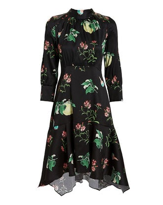 Dark Floral Dress, Black, hi-res