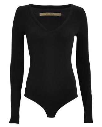 Ribbed V-Neck Bodysuit, BLACK, hi-res