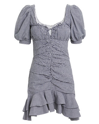 Oxford Gingham Mini Dress, NAVY, hi-res