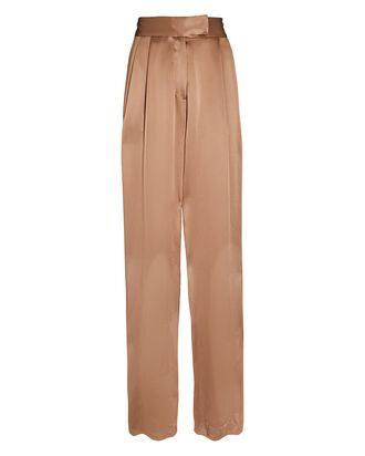 Pleated Wide-Leg Silk Trousers, BEIGE, hi-res