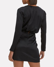 Elin Blouson Silk Mini Dress, BLACK, hi-res
