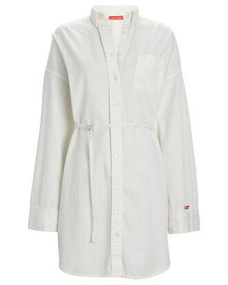 Belted Poplin Shirt Dress, WHITE, hi-res