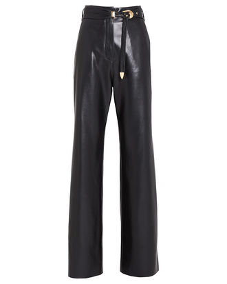 Kisa Belted Vegan Leather Pants, BLACK, hi-res