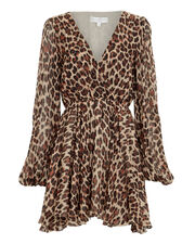 Olena Silk Leopard Mini Dress, LEOPARD, hi-res