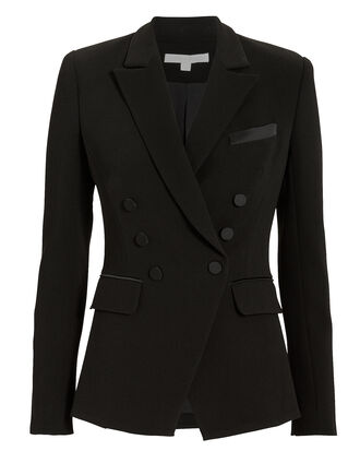Satin Trim Black Blazer, BLACK, hi-res