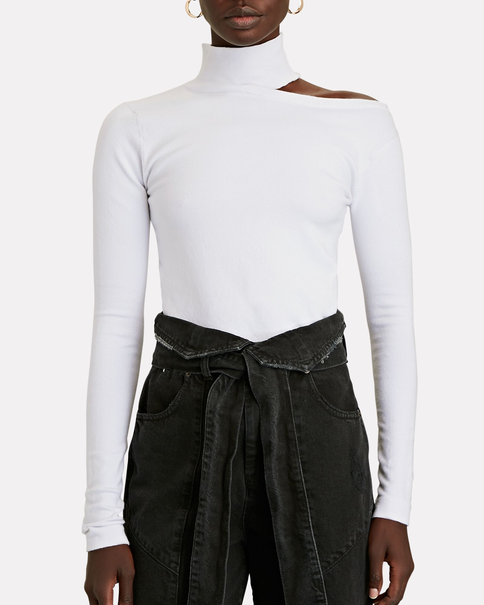 Milia Cut-Out Turtleneck Top, WHITE, hi-res