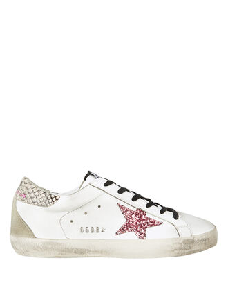 Superstar Leather Low Top Sneakers, WHITE/PINK, hi-res