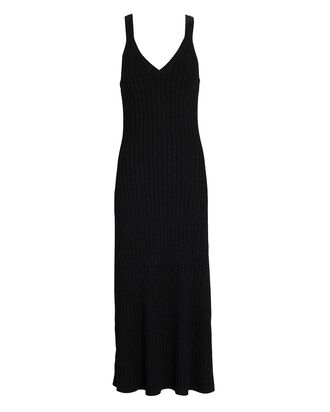 Goldie Rib Knit Midi Dress, BLACK, hi-res
