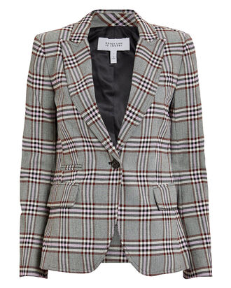 Plaid Twill Blazer, GREY/PLAID, hi-res