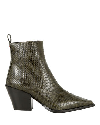 Kate Python-Embossed Booties, OLIVE, hi-res