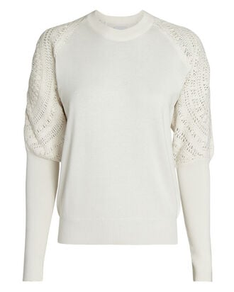 Johana Crochet-Trimmed Sweater, IVORY, hi-res