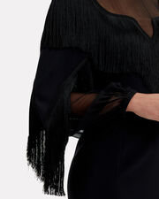Fringed Sheer Panel Black Dress, BLACK, hi-res