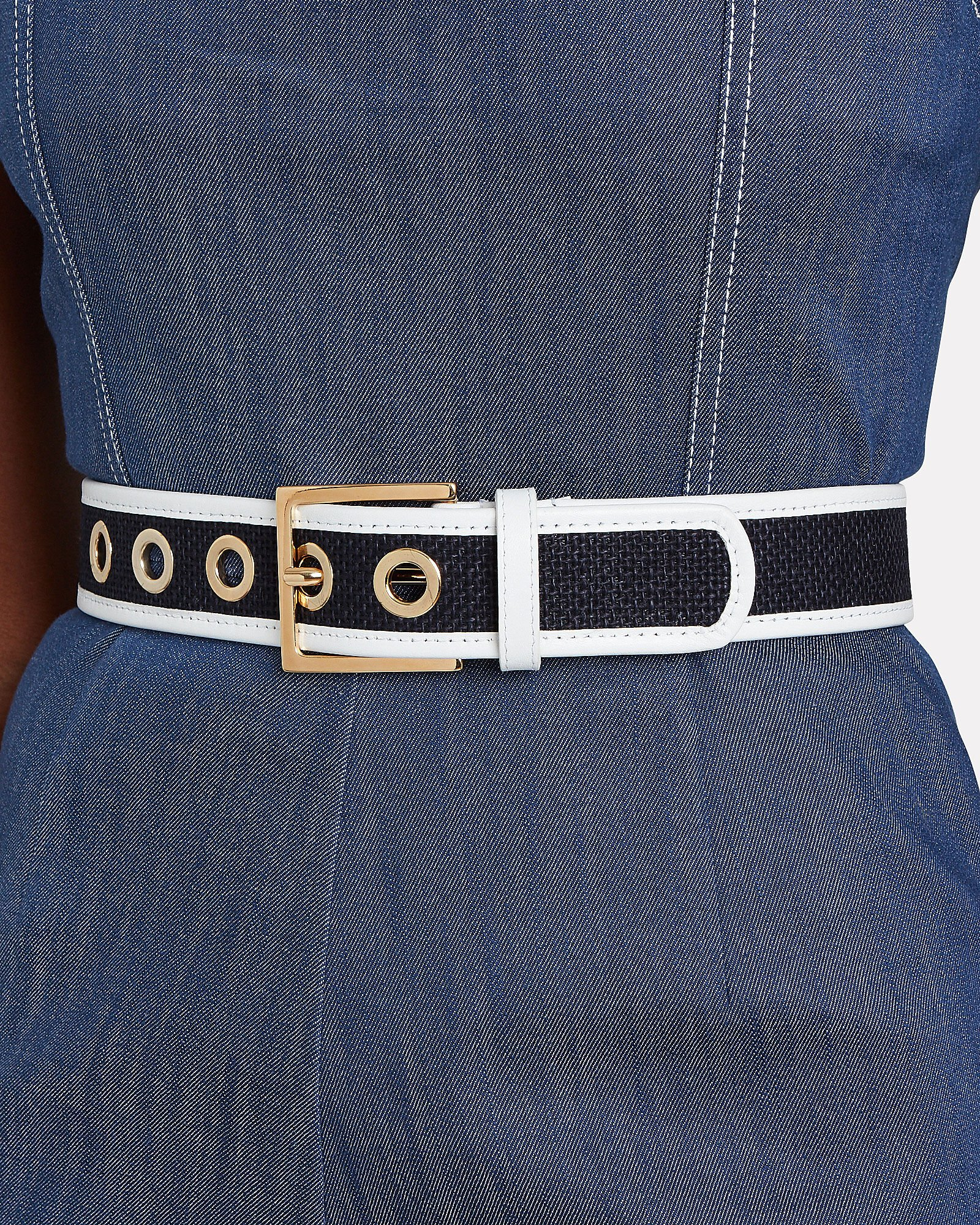 Nappa Leather-Piped Woven Belt, BLUE-DRK, hi-res