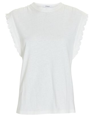 Sayles Lace-Trimmed Muscle Tank, WHITE, hi-res