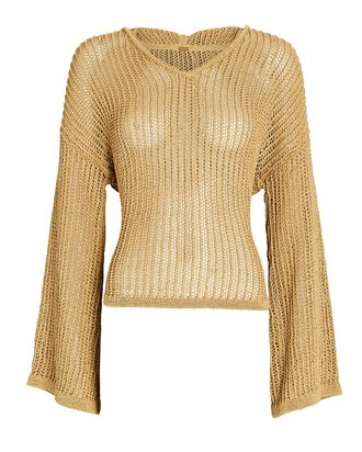 Catherine Cotton-Blend Hooded Sweater, BEIGE, hi-res