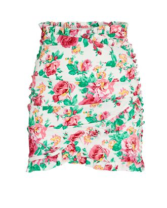 Becca Floral Faux Wrap Mini Skirt, WHITE/PINK/GREEN, hi-res