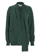 Merino Wool Scarf Placket Cardigan, EMERALD GREEN, hi-res