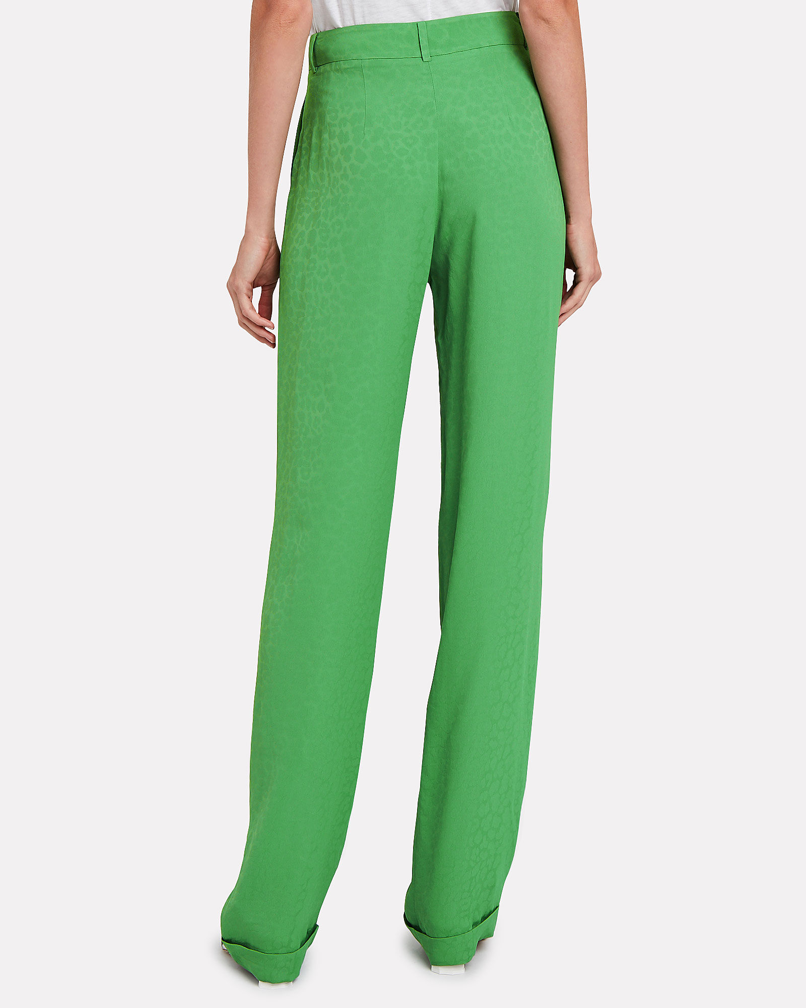 Leopard Jacquard Suiting Trousers, GREEN, hi-res