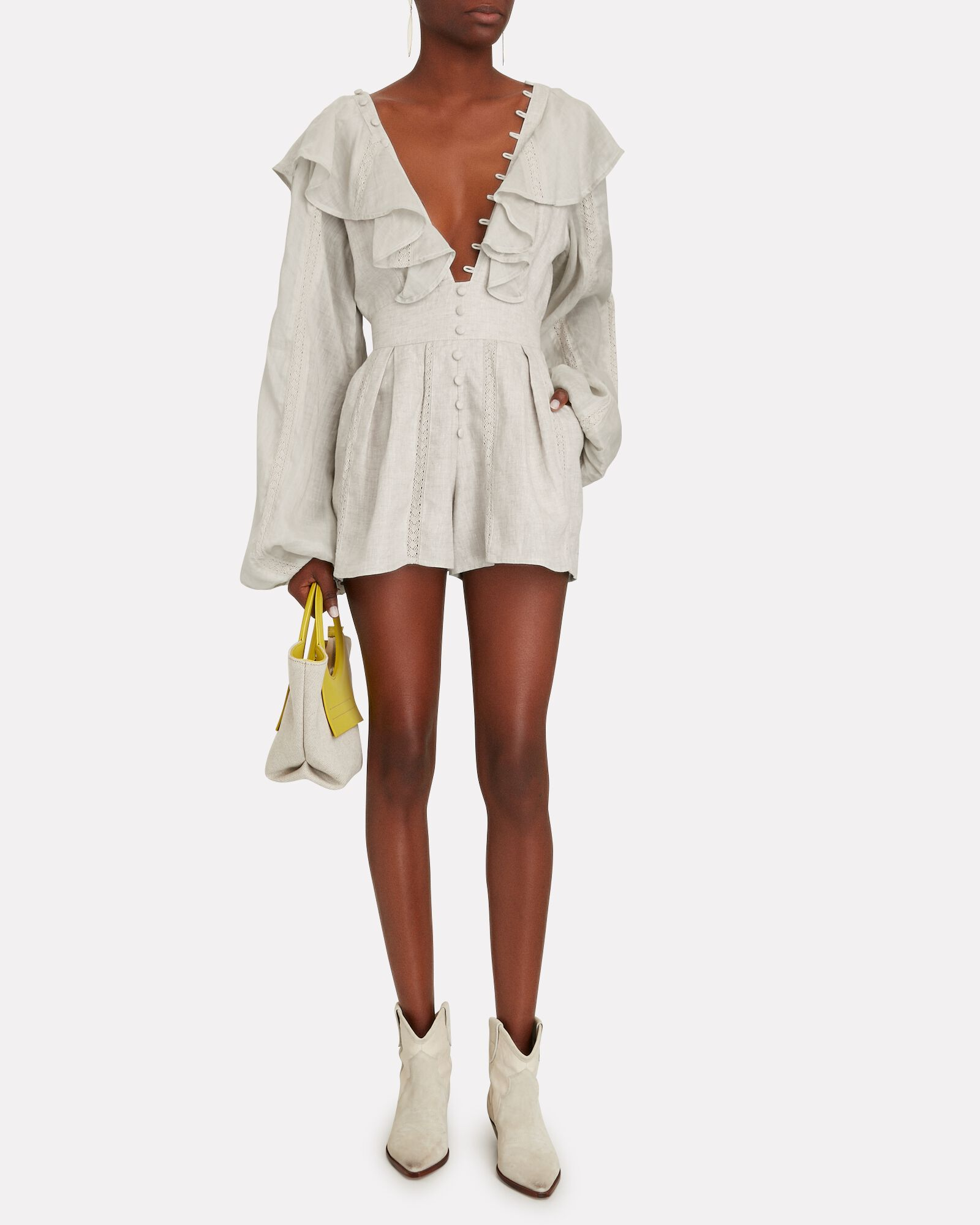Maxine Ruffled Linen Playsuit, BEIGE, hi-res
