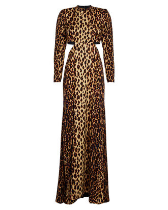 Gabriela Leopard Maxi Dress, BROWN/LEOPARD, hi-res