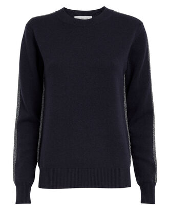 Lurex Striped Navy Cashmere Sweater, NAVY/SILVER, hi-res