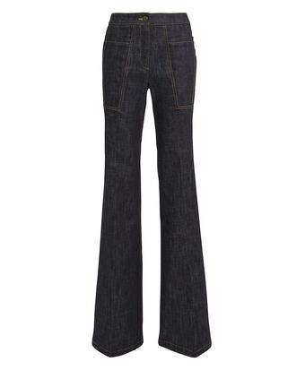 Charlotte Dark Denim Flare Jeans, DARK BLUE DENIM, hi-res