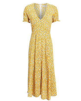 Ari Floral Midi Dress, YELLOW/FLORAL, hi-res