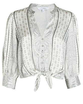 Hope Tied Silk Paisley Shirt, IVORY/BLACK, hi-res