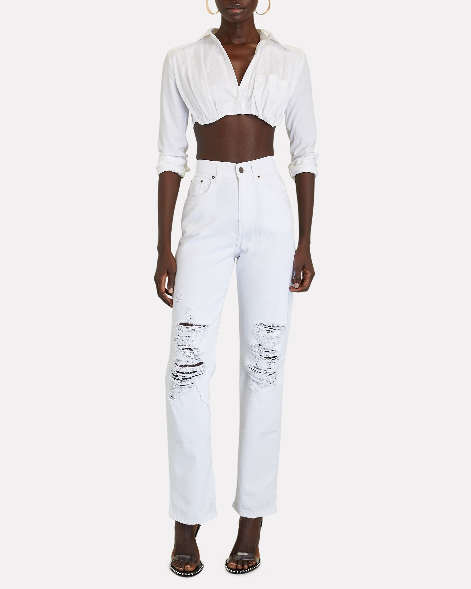 Chris Distressed Straight-Leg Jeans, VINTAGE WHITE, hi-res