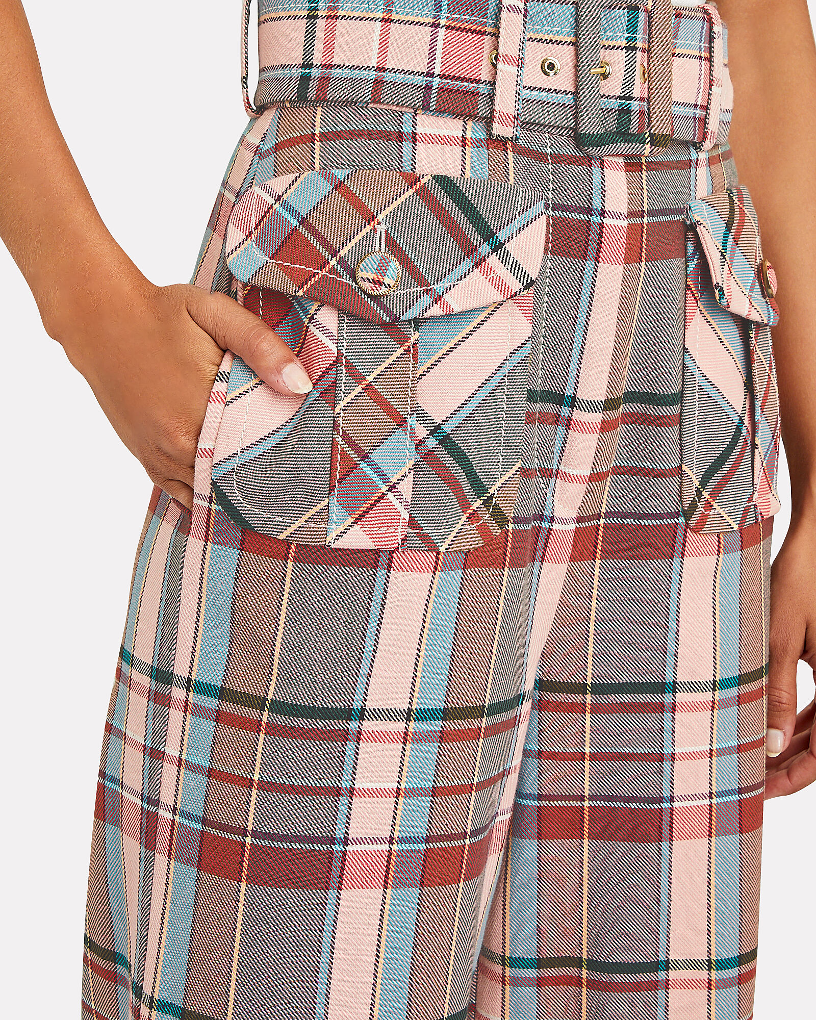 Lucky Belted Check Pants, PINK/RED/BLUE, hi-res