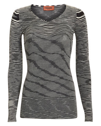 Space Dye Contour Knit Top, BLK/WHT, hi-res