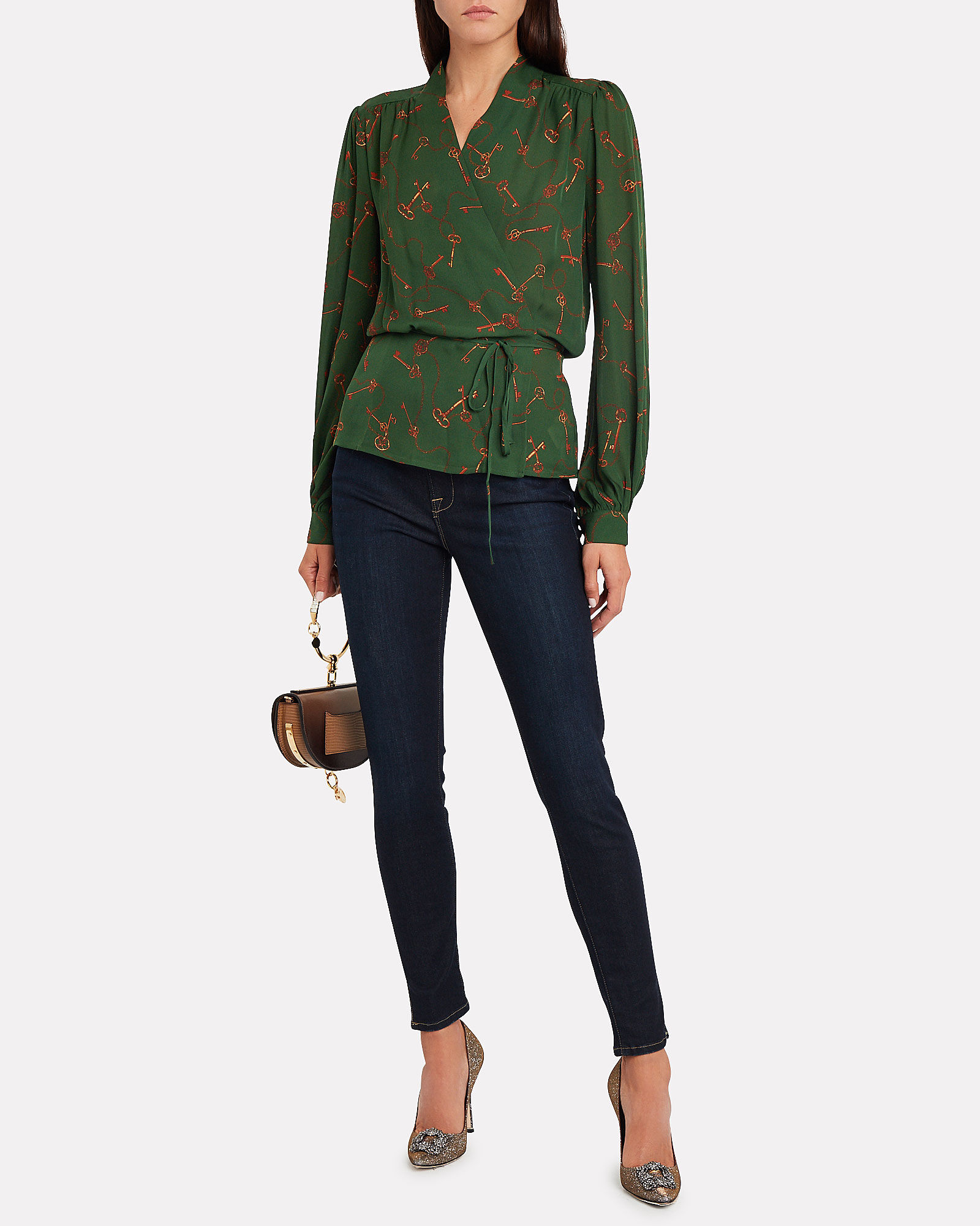 Cara Georgette Wrap Blouse, FOREST GREEN, hi-res